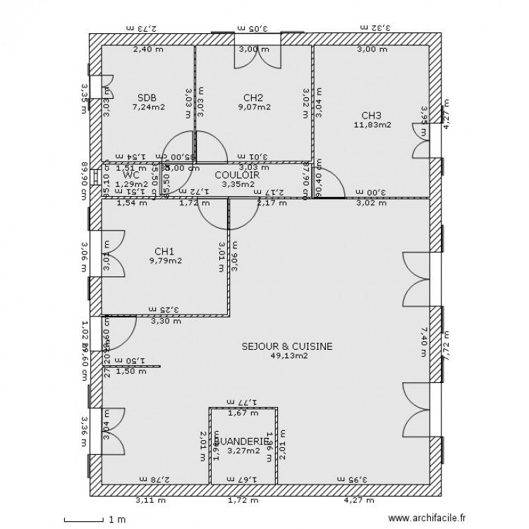 plan maison 10m x 8m