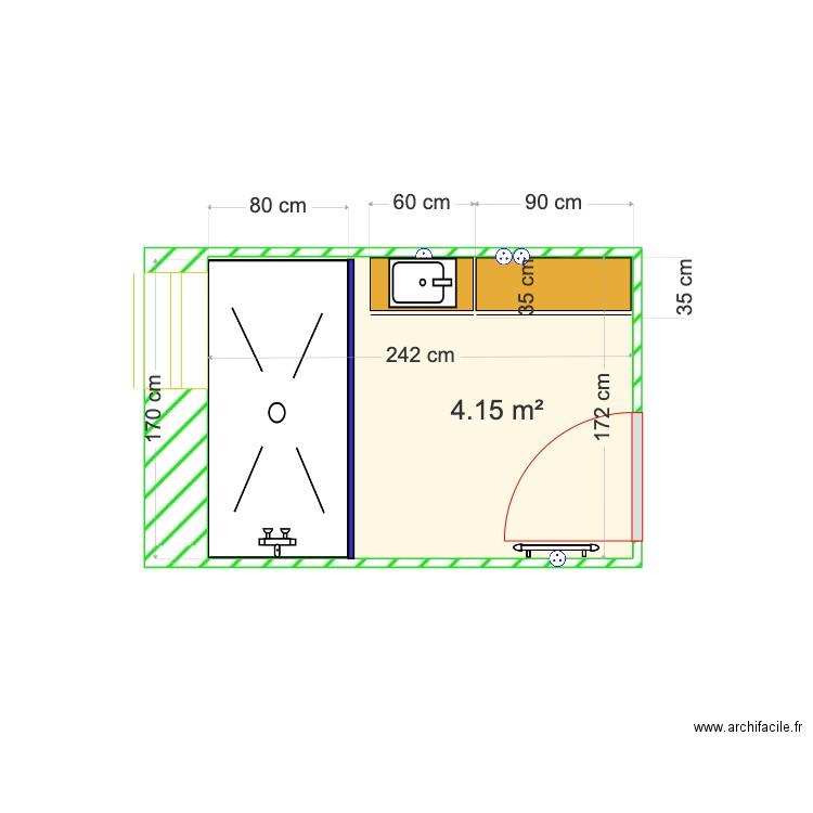 Salle de bain plan 1 pi ce 4 m2 dessin par jmauffray for Salle de bain 4 m2