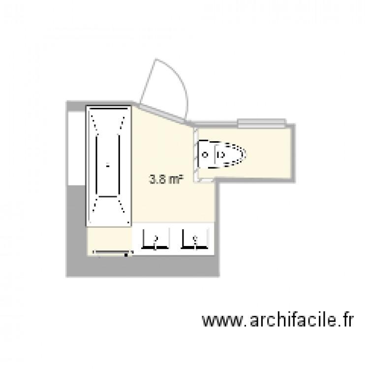 Salle de bain 3 plan 1 pi ce 4 m2 dessin par llecam for Salle de bain 4 m2