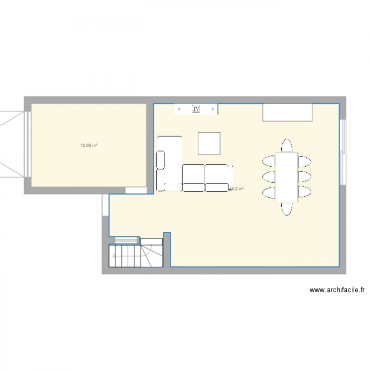 maison plan 2 pi ces 57 m2 dessin par remyvanessa. Black Bedroom Furniture Sets. Home Design Ideas