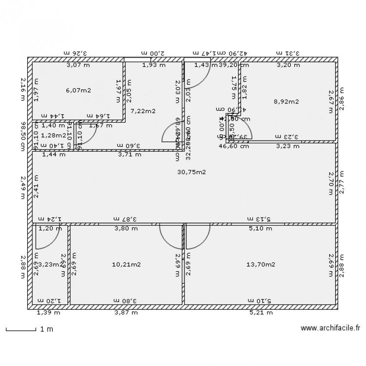 Cabinet kine plan 8 pi ces 81 m2 dessin par kine claude - Cabinet de kine avec piscine ...