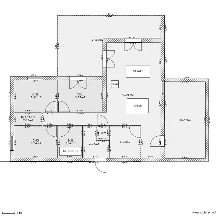 Maison st bonnet plan 11 pi ces 140 m2 dessin par kticat - Consommation electrique moyenne maison 140 m2 ...