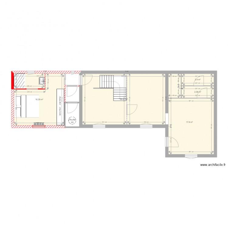 rez de chauss plan 5 pi ces 65 m2 dessin par roberts3. Black Bedroom Furniture Sets. Home Design Ideas