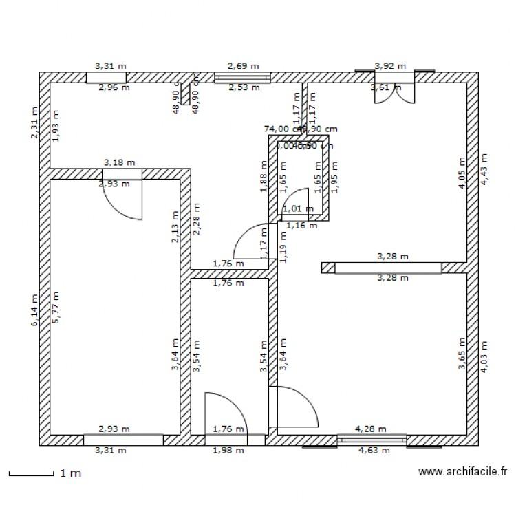 maison rdc avec dimensions plan 5 pi ces 69 m2 dessin par droopyann. Black Bedroom Furniture Sets. Home Design Ideas