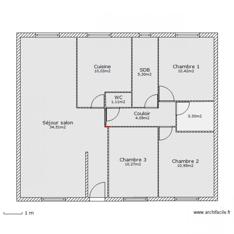 plan maison 90m2 3 chambres finest plan maison chambres. Black Bedroom Furniture Sets. Home Design Ideas