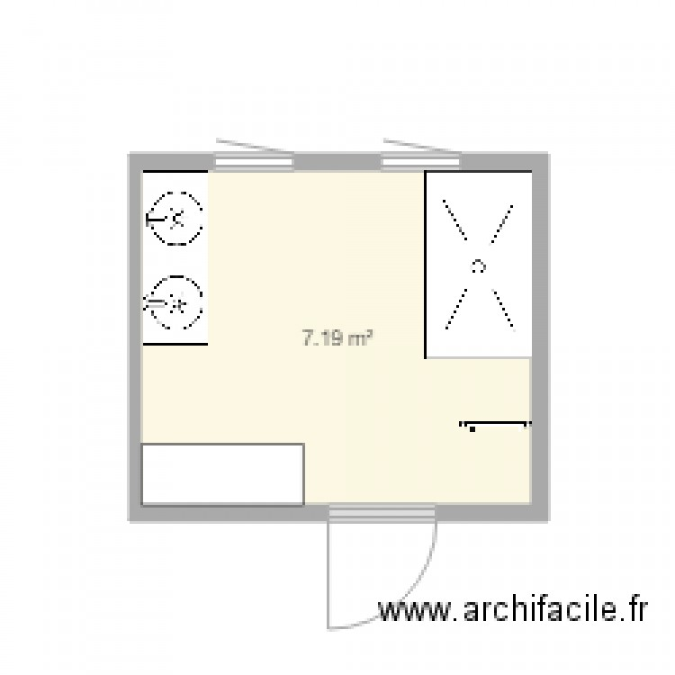 sdb plan 1 pi ce 7 m2 dessin par barbacat. Black Bedroom Furniture Sets. Home Design Ideas
