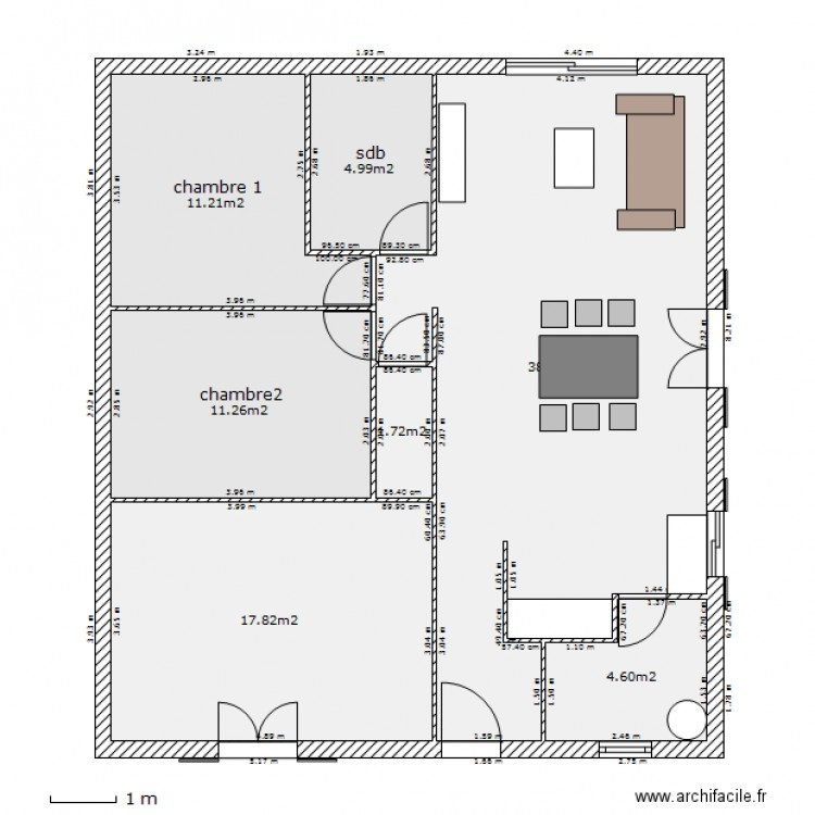 plan maison 89m2