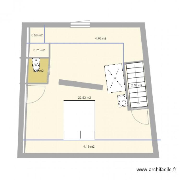 am nagement comble garage plan 7 pi ces 38 m2 dessin par foleka. Black Bedroom Furniture Sets. Home Design Ideas