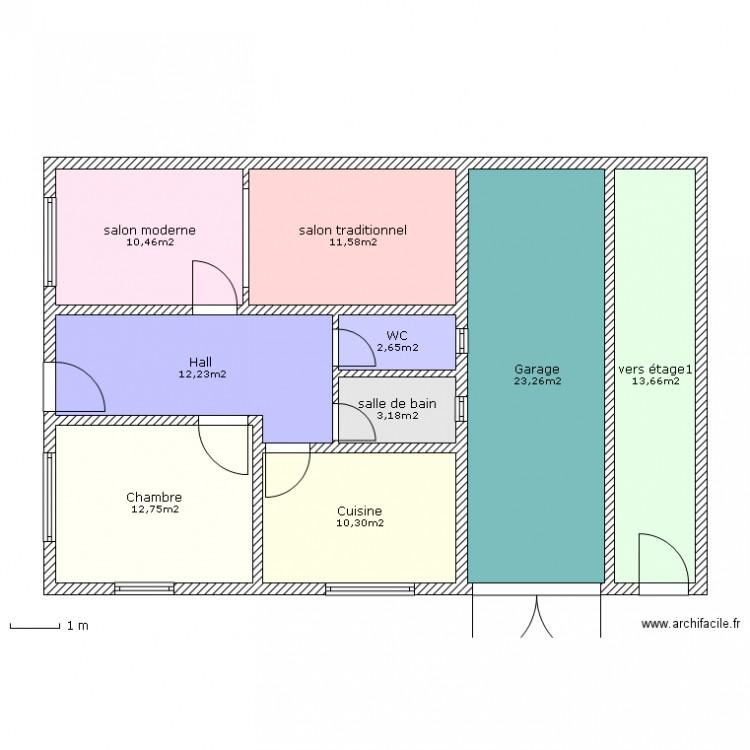 Maison marocaine plan 9 pi ces 100 m2 dessin par boulmane for Trouver des plans de construction
