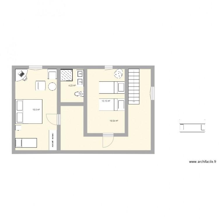 grenier am nagement des combles 22 plan 4 pi ces 55 m2 dessin par jaffa22. Black Bedroom Furniture Sets. Home Design Ideas