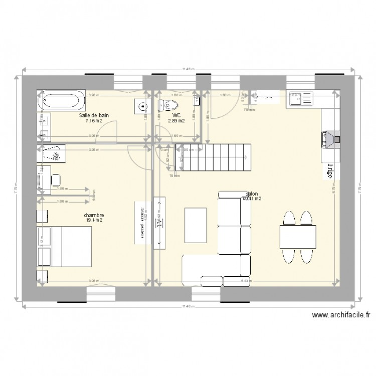 Plan petite maison fontsalive plan 4 pi ces 70 m2 for Plan de petite maison