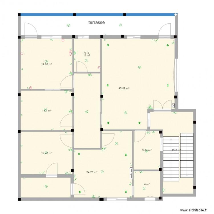 Maison plan 9 pi ces 140 m2 dessin par mncf for Plan maison 140m2