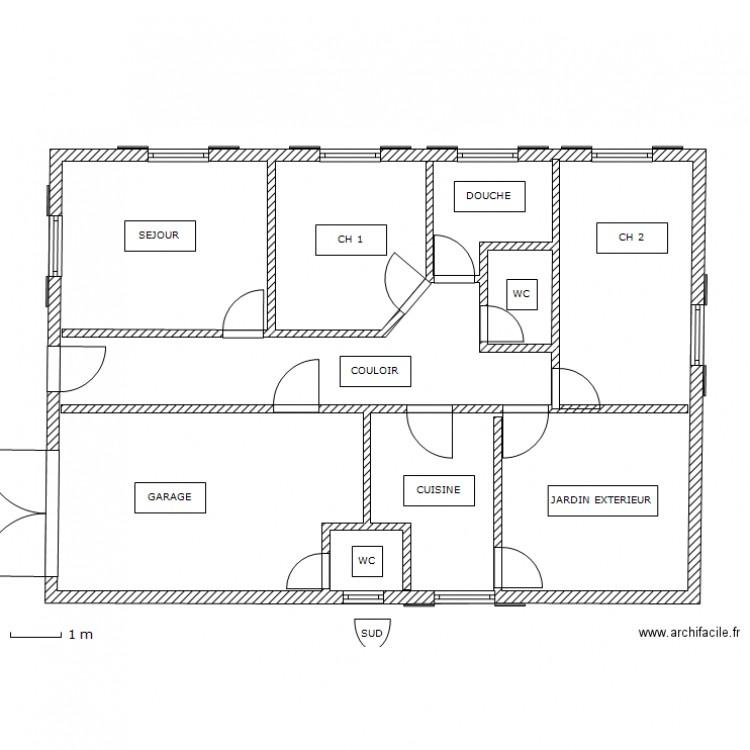 Maison plein pied lamri plan 3 pi ces 99 m2 dessin par for Taille moyenne maison