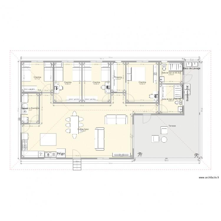 Maison f5 sans garage plan 10 pi ces 160 m2 dessin par for Plan de maison f5