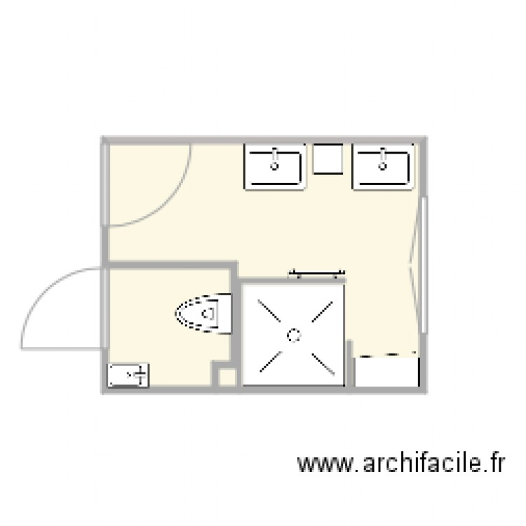 salle de bain 1 plan 2 pi ces 7 m2 dessin par jmounier. Black Bedroom Furniture Sets. Home Design Ideas