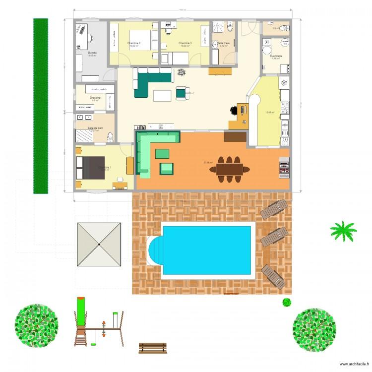 Plan De Maison De Plain Pied Beau Plan Maison  Chambres Plain Pied