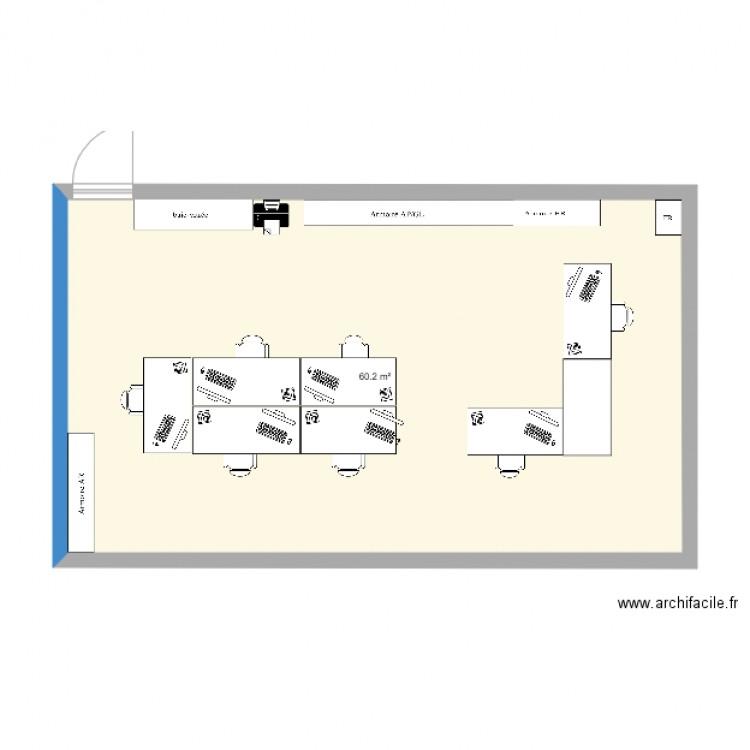 Plan bureau plan 1 pi ce 60 m2 dessin par fbutzberger for Nombre de m2 par personne bureau