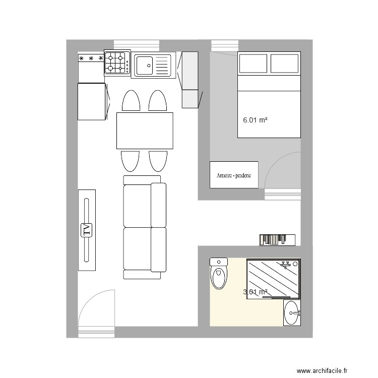 plan studio de 30m2 plan 2 pi ces 9 m2 dessin par sara95. Black Bedroom Furniture Sets. Home Design Ideas