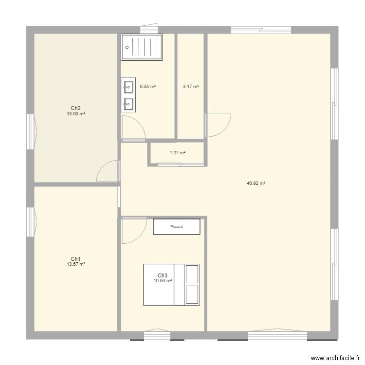 Maison 90m2 Plan 7 Pieces 96 M2 Dessine Par Loucharose