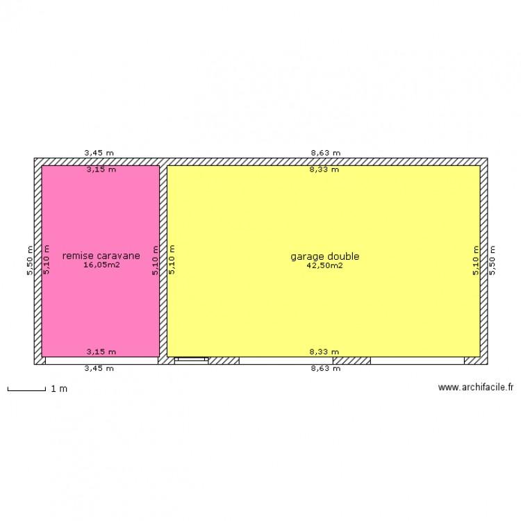 plan garage 2 voitures caravane plan 2 pi ces 59 m2 dessin par tibo42140. Black Bedroom Furniture Sets. Home Design Ideas
