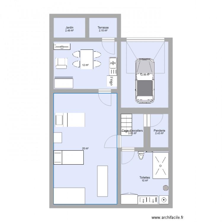 rez de chauss plan 8 pi ces 73 m2 dessin par sarahslt. Black Bedroom Furniture Sets. Home Design Ideas