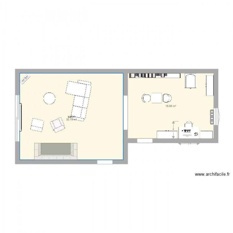 Salon et bureau apr s plan 2 pi ces 49 m2 dessin par for Nombre de m2 par personne bureau