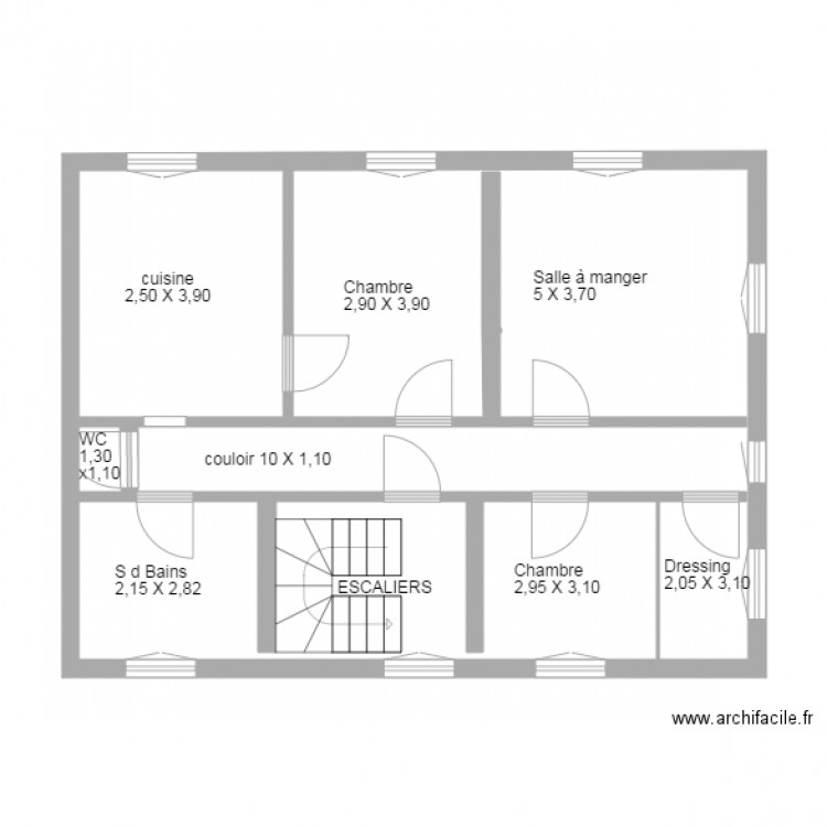 plan appartement plan 3 pi ces 61 m2 dessin par mj poncet. Black Bedroom Furniture Sets. Home Design Ideas