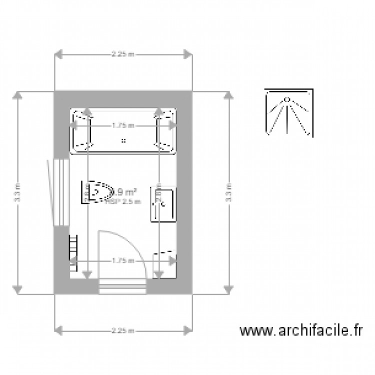 salle de bain plan 1 pi ce 5 m2 dessin par kevange. Black Bedroom Furniture Sets. Home Design Ideas