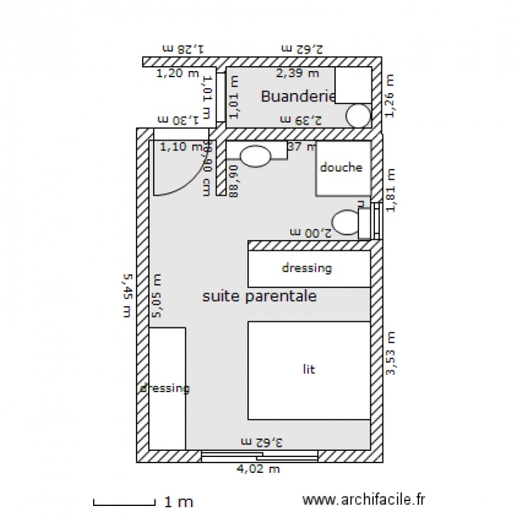 Suite parentale plan 2 pi ces 20 m2 dessin par cochise59 for Taille dressing suite parentale