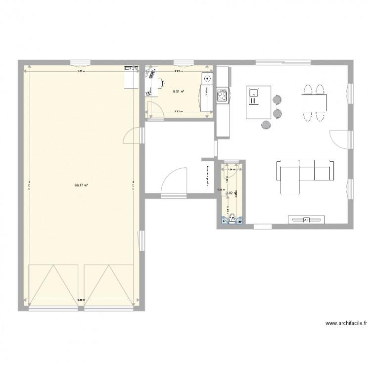 Plan maison 3 plan 3 pi ces 78 m2 dessin par vey - Plan de maison 2 pieces ...