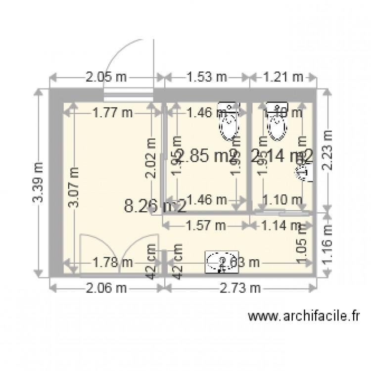 Toilettes du restaurant 2 plan 3 pi ces 13 m2 dessin par gexanu - Plan de toilettes seches ...