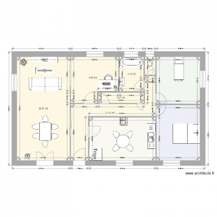 Plan maison plan 8 pi ces 90 m2 dessin par benjaminberny for Plan de maison 5 pieces