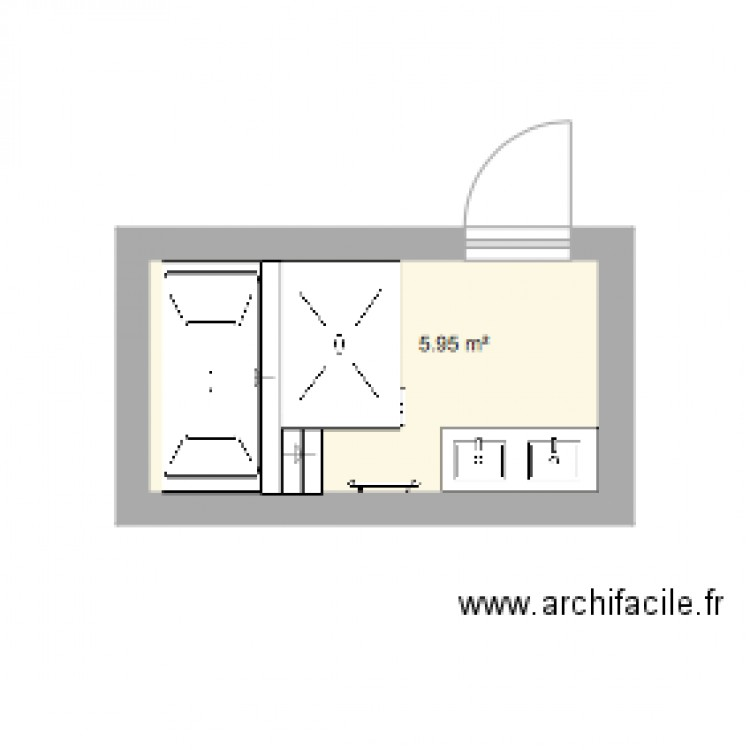 salle de bain plan 1 pi ce 6 m2 dessin par lyro. Black Bedroom Furniture Sets. Home Design Ideas