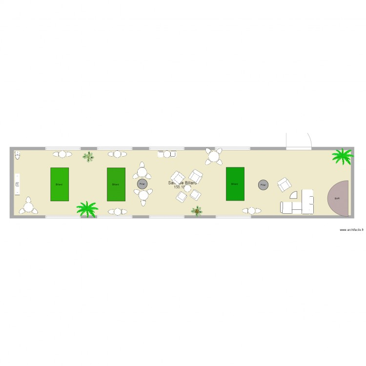 salle de billard plan 1 pi ce 156 m2 dessin par coben10. Black Bedroom Furniture Sets. Home Design Ideas