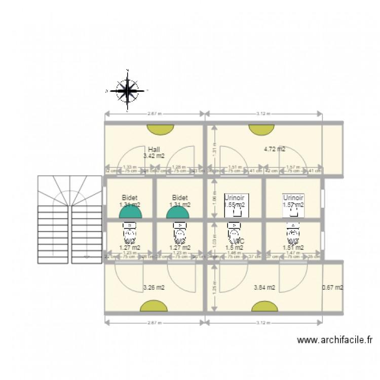 plan de toilette moderne plan 13 pi ces 27 m2 dessin. Black Bedroom Furniture Sets. Home Design Ideas
