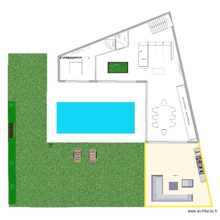 Rdc rock 5 plan 1 pi ce 61 m2 dessin par juliadjou5 - Piscine ligne de nage ...
