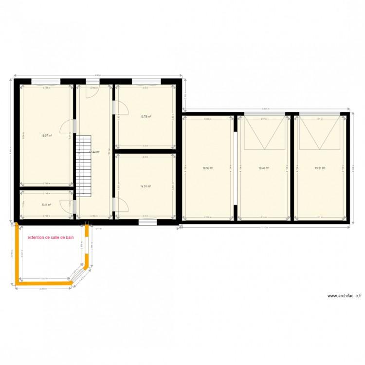 Extention salle de bain dessiner en jaune plan 8 pi ces for Dessiner plan salle de bain