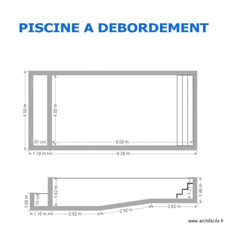 Piscine a debordement 8 x 4 plan 2 pi ces 35 m2 dessin for Piscine a debordement principe