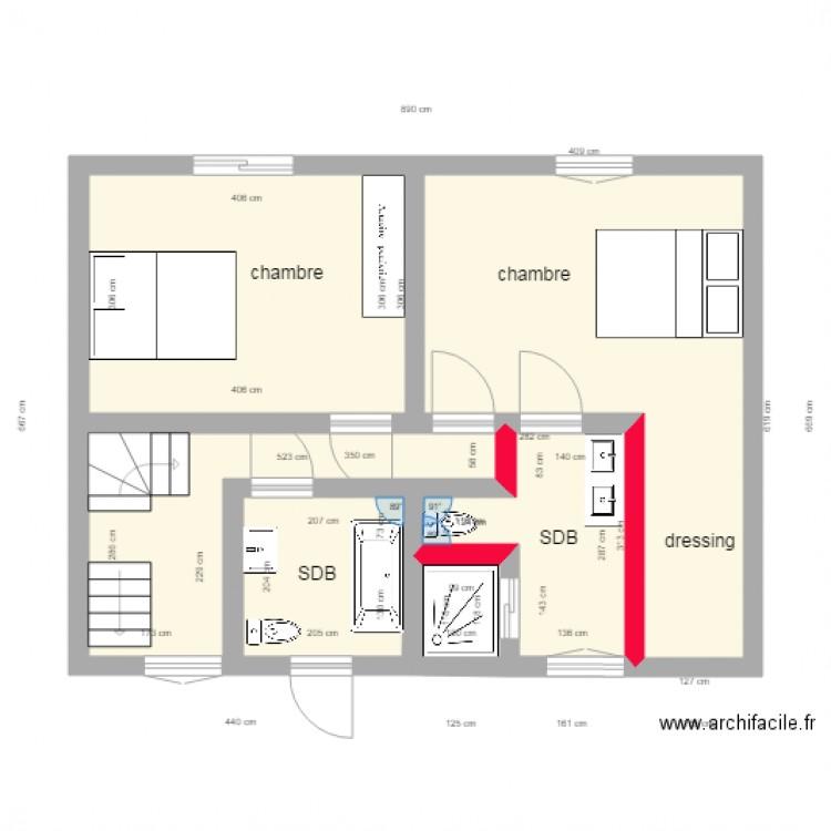 Surzur etage projet plan 6 pi ces 40 m2 dessin par yo56 for Piscine surzur