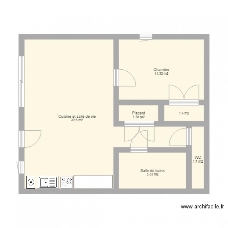 appartement t2 mont de jean plan 6 pi ces 54 m2 dessin. Black Bedroom Furniture Sets. Home Design Ideas