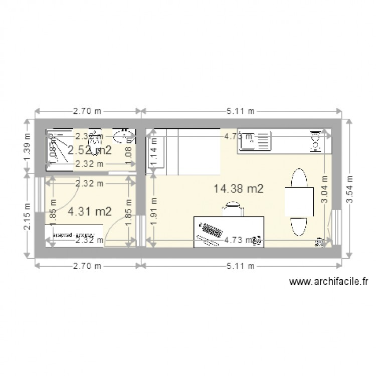 studio 7 plan 3 pi ces 21 m2 dessin par jviguier. Black Bedroom Furniture Sets. Home Design Ideas
