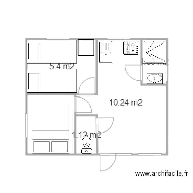 mobil home 20m2 n26 plan 5 pi ces 22 m2 dessin par pistache31. Black Bedroom Furniture Sets. Home Design Ideas