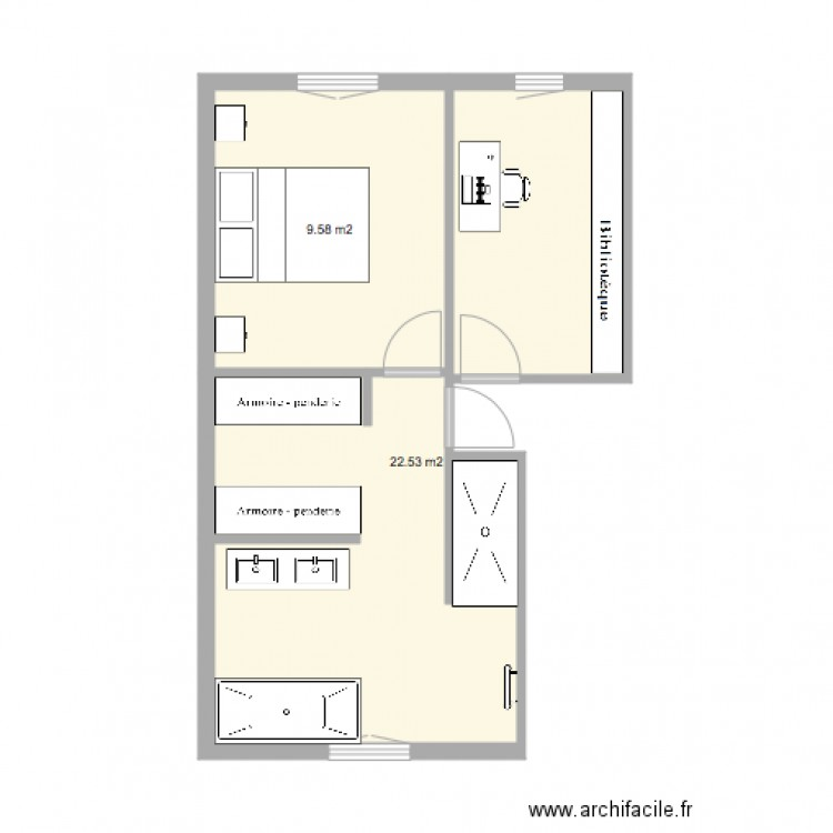suite parentale mumu et olivier plan 2 pi ces 32 m2 dessin par jean54. Black Bedroom Furniture Sets. Home Design Ideas