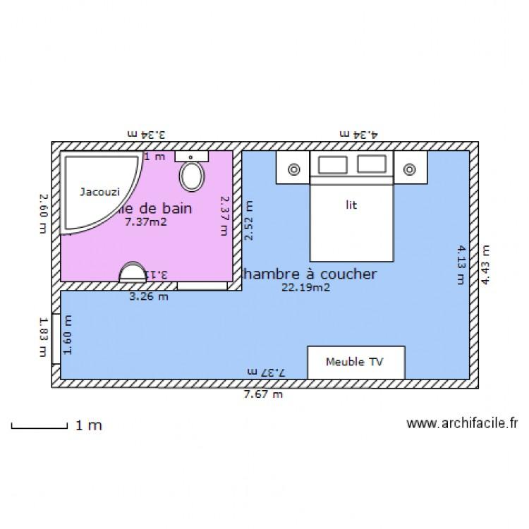 Chambre d 39 hotel plan 2 pi ces 30 m2 dessin par aymen0482 for Plan architecte chambre hotel
