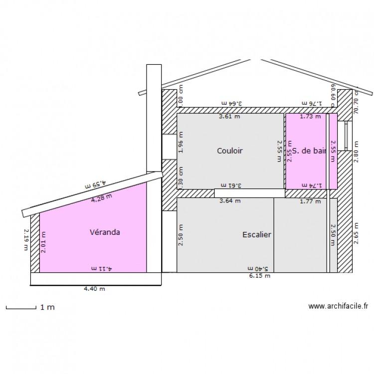 coupe veranda escalier plan 4 pi ces 38 m2 dessin par. Black Bedroom Furniture Sets. Home Design Ideas