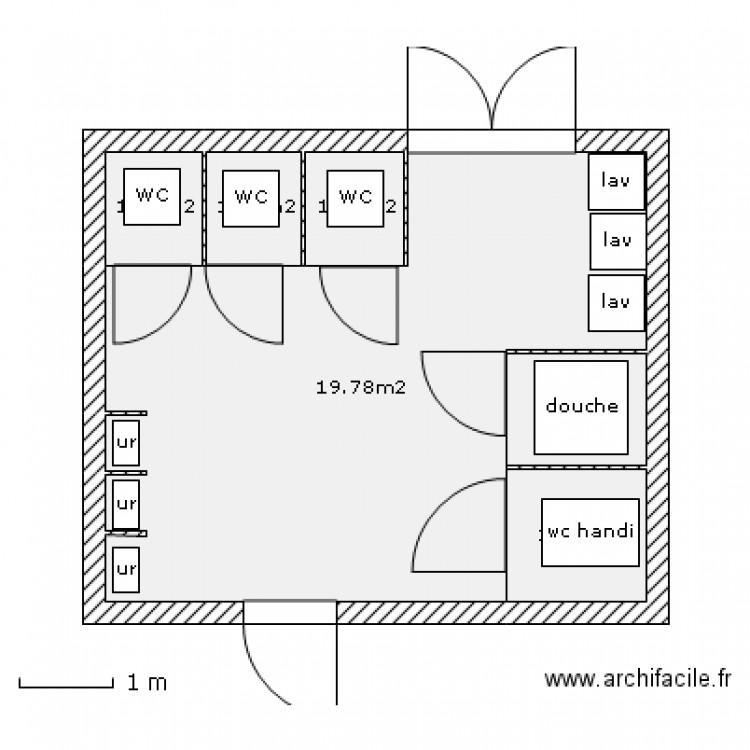 projet wc plan 6 pi ces 27 m2 dessin par toilette ecole. Black Bedroom Furniture Sets. Home Design Ideas