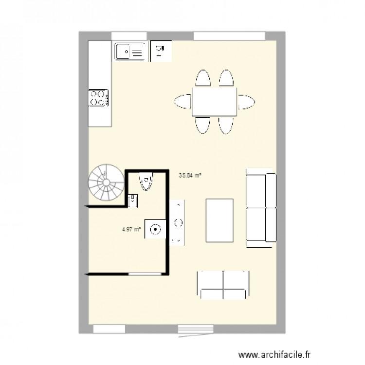 cote chaude rez de chauss plan 2 pi ces 41 m2 dessin par ihaveadream42. Black Bedroom Furniture Sets. Home Design Ideas