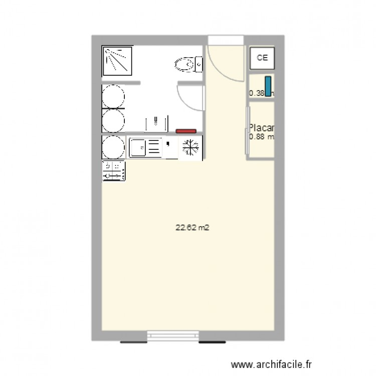 appart 16a en studio de 28m2 plan 4 pi ces 24 m2 dessin. Black Bedroom Furniture Sets. Home Design Ideas