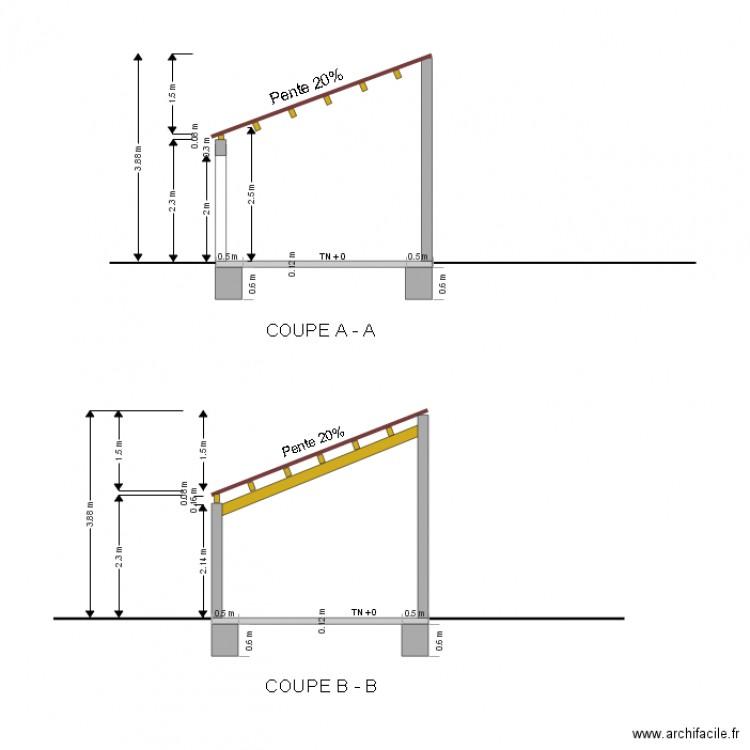 Plans de coupe de la construction projetee plan dessin par annexes - Plan en coupe permis de construire ...