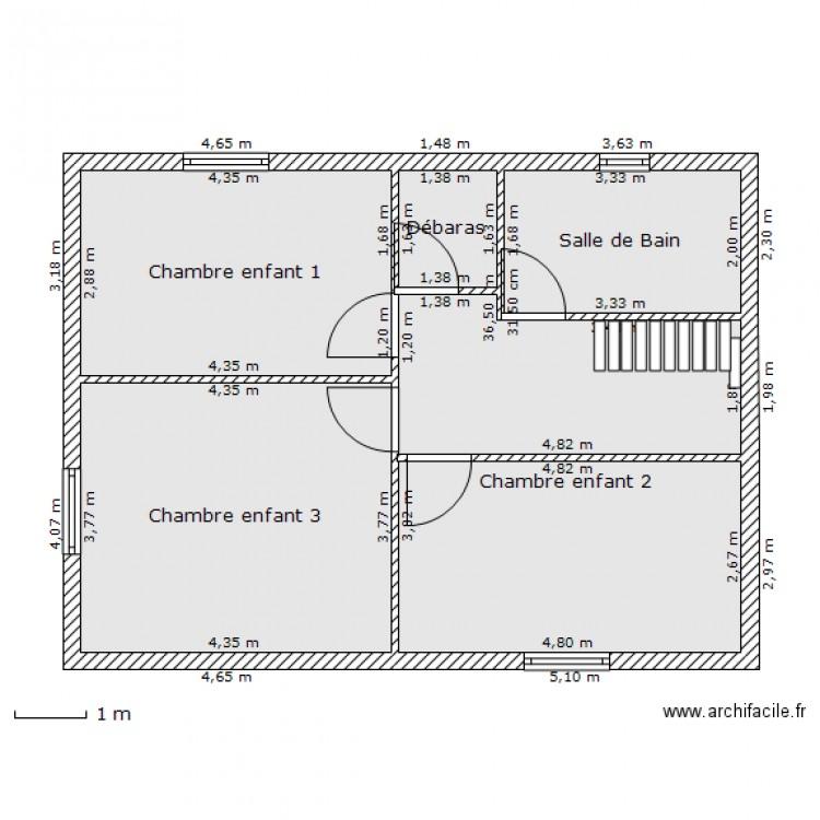 plan maison tage plan 5 pi ces 60 m2 dessin par fassel. Black Bedroom Furniture Sets. Home Design Ideas